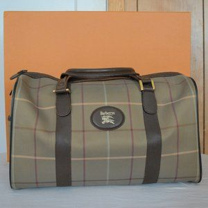 Burberry Vintage Grey Brown Canvas Leather